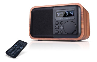 Radio Reloj En Madera Portatil Bluetooth
