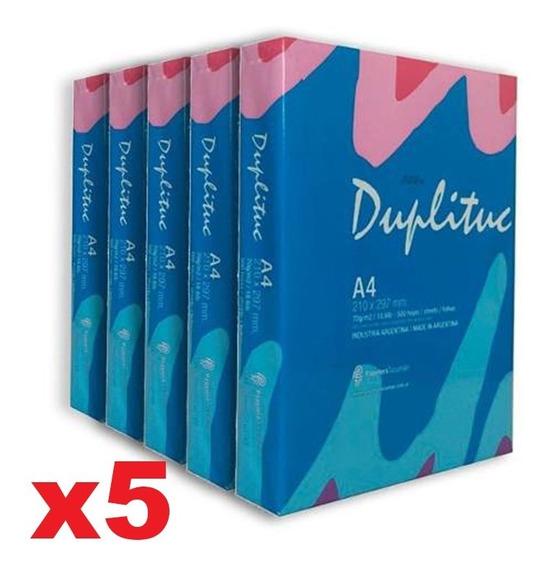 5 Resmas A4 Duplituc 70 Gr Papel Obra X Caja + 6 Cuotas!!!