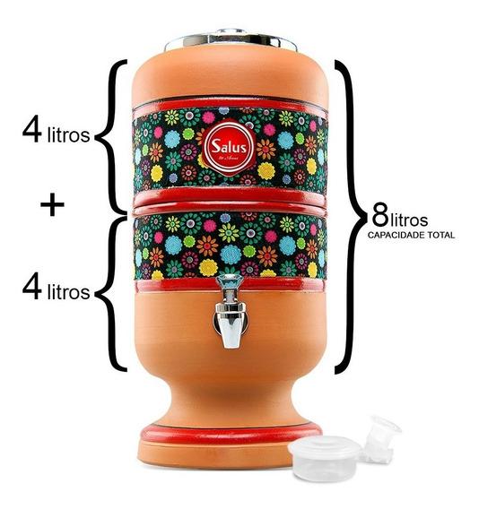 Filtro De Água Barro 8l Boia + Vela Filtro De Barro 8 Litros