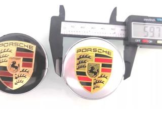 4 Centros De Rin Porsche 60mm + Tapones De Válvula