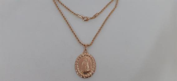 Colar Cordão 45cm Com Pingente De Aparecida Folheado A Ouro