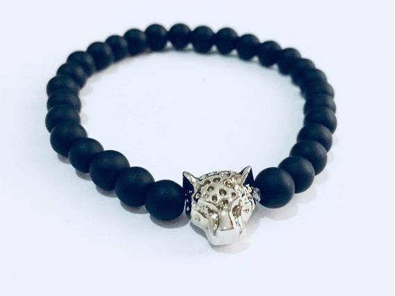 Pulsera Hombre Bola Cristal Negra Dije Jaguar Mayoreo