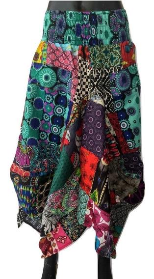Falda Tipo Globo Multicolor, 100% Algodón. Patchwork