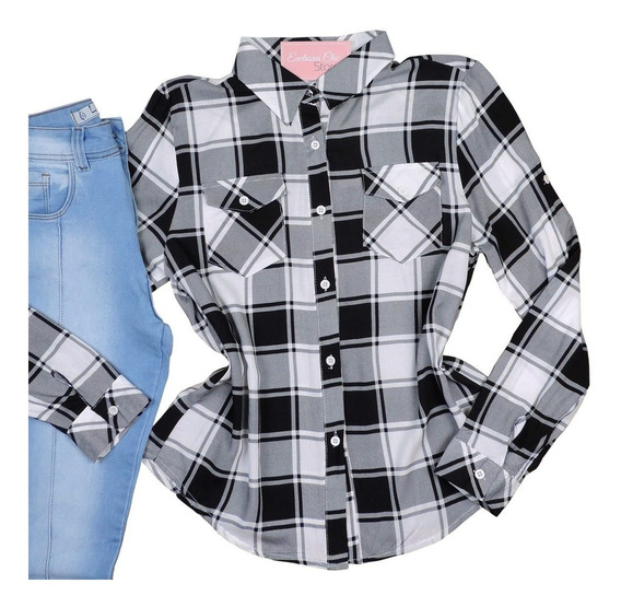 Blusa Camisa Camiseta Feminina Xadrez Manga Longa Modelo 03