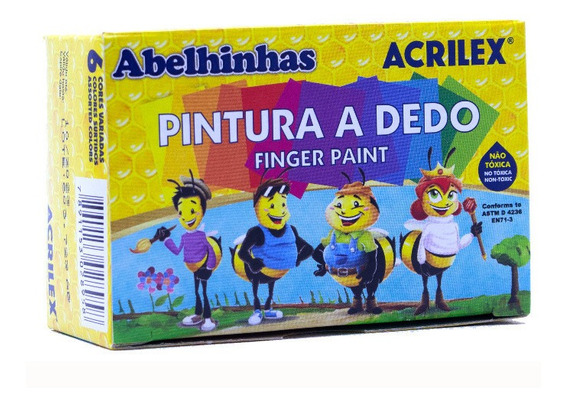 Pintura Para Dedos Acrilex 6 Colores Surtidos X 15ml