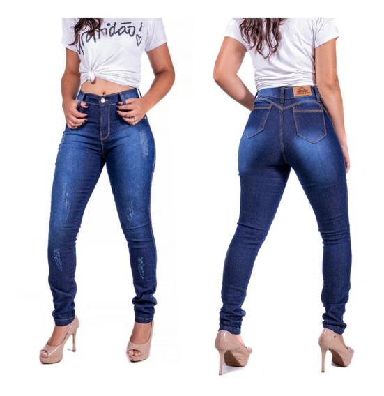 Calça Jeans Feminina Cintura Alta Cós Alto Hot Pant