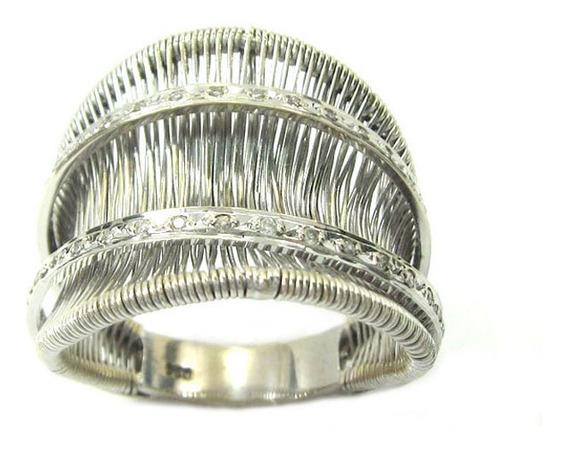 Joianete A8980-72512 Anel Ouro Branco Trabalhado Diamantes