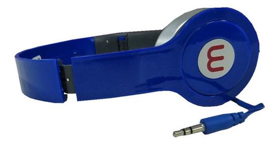 Fone De Ouvido Headset Azul Estéreo Hi-fi Mp3/mp4/pc