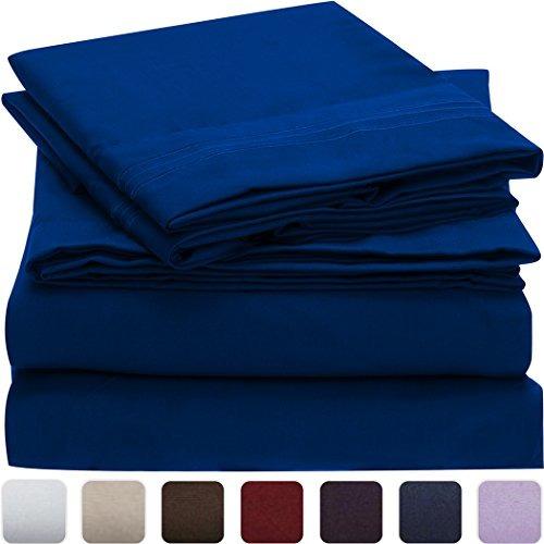 Juego De Sábanas Mellanni Azul-imperial Doble Hipoalergénico