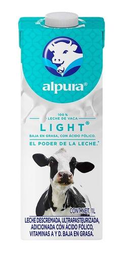 Imagen 1 de 1 de Leche Alpura Light 1 Litro Baja En Grasa Con Acido Folico