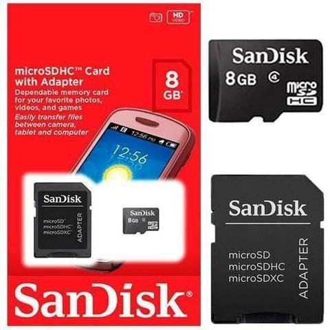 Cartão De Memória 8gb Sandisk Micro Sd Classe 4