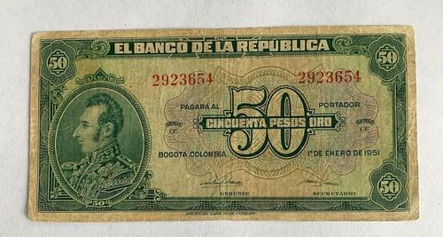 Billete De Colombia De 50 Pesos Oro De 1951
