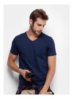 Kit 7 Camisetas Gola V Masculina Básica Lisa Algodão Camisa