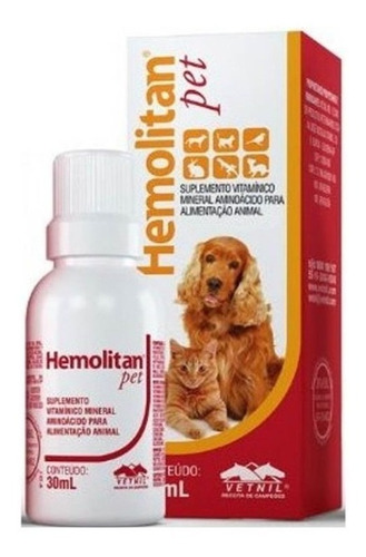 Hemolitan Pet Suplemento Vitamínico Mineral 60 Ml Vetnil