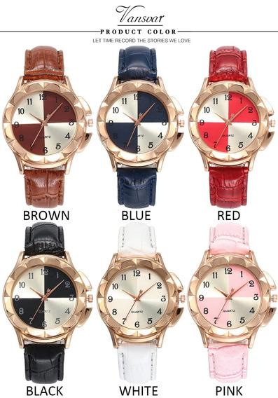 Relógio De Pulso Feminino Social - Varias Cores Com Caixa