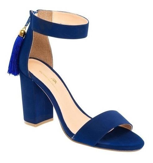 Sandalia Casual Dama Azul Rey Tacon Alto