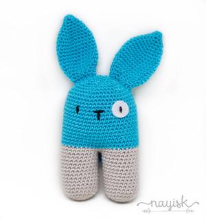Amigurumi Sonaja Crochet Ganchillo Conejo Bipedo Turquesa