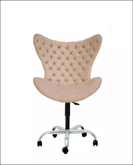 Cadeira Com Strass Brilhantec/ Rodinha E Regulagem De Altura