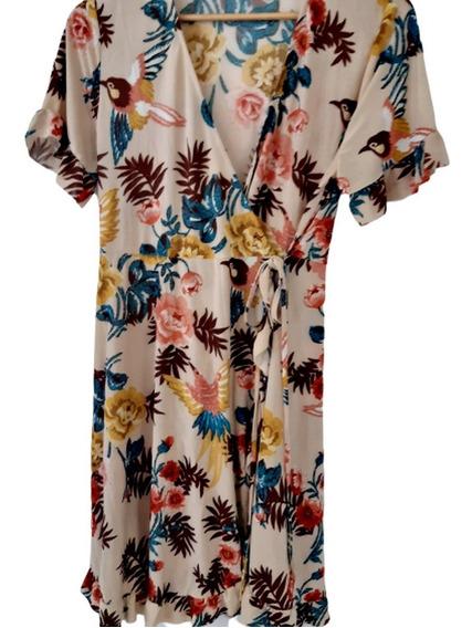 Vestido Cruzado, Flores, Lazo En La Cintura Ss20