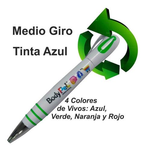 Boligrafo Medio Giro, Impresion Full Color Tinta Azul X500