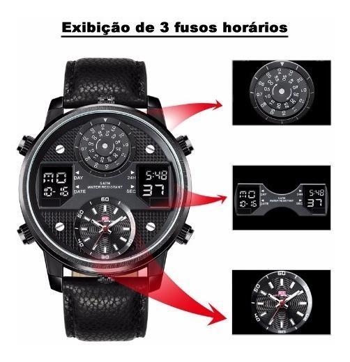 Relógio Masculino Esportivo Kat-wach Pulseira De Couro Luxo