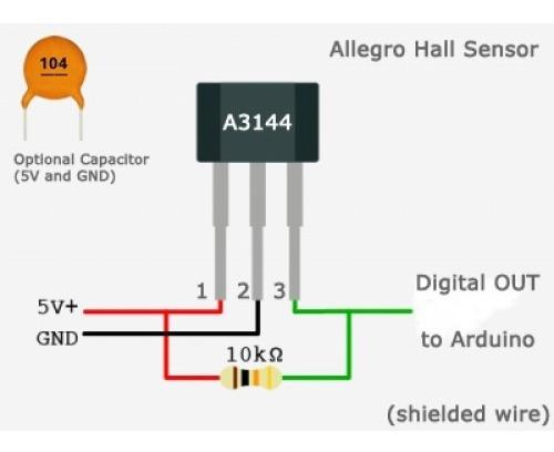 Sensor Hall A3144 + Resistor 10k 20 Pcs Cada