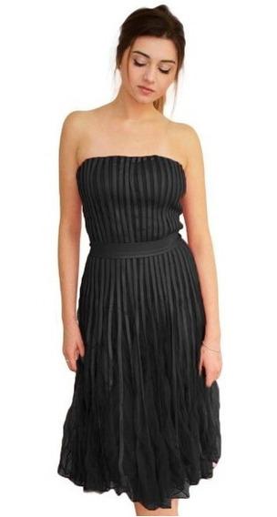 Vestido Stapless Tul Ecocuero Modelo Sansa Brishka M-0056