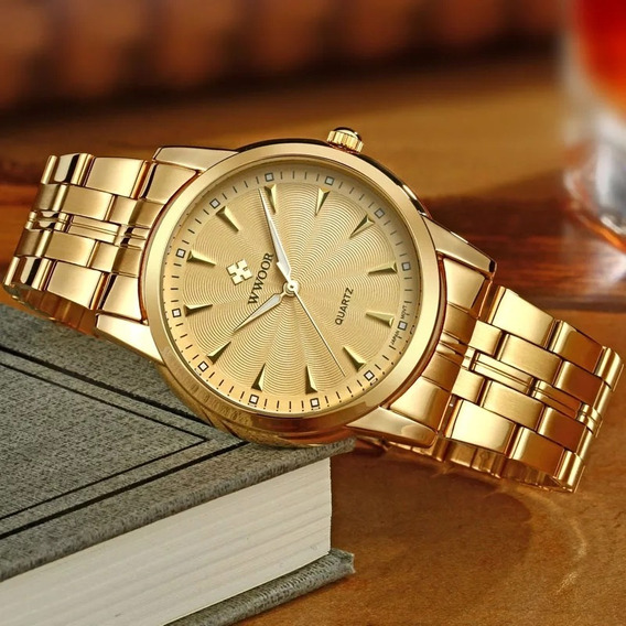 Relógio Masculino Casuais Dourado A Prova D