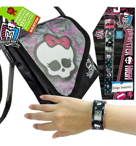Relógio De Pulso Digital Monster High Mais Bolsa Skullete