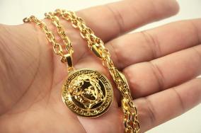 Corrente Cadeado + Pingente Versace Medusa Banhado A Ouro