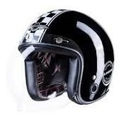 Capacete Aberto Cafe Racer Glossy Black Lucca Customs Harley