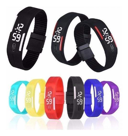 Relógio Led Digital Sport Bracelete Pulseira Silicone - Azul
