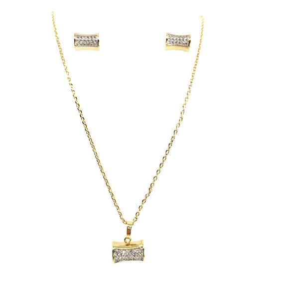 Set Collar Y Aretes Tubo C/zirconias Baño De Oro 18k Vogary