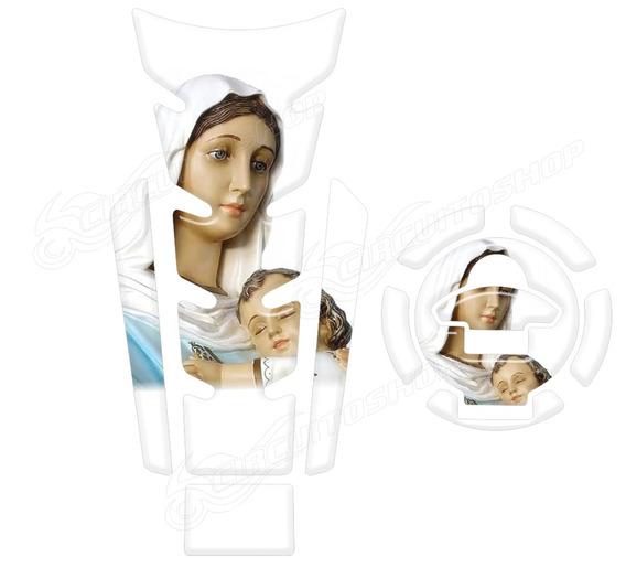 Protetor Tanque Relevo Branco Maria Nossa Senhora R3 Yamaha