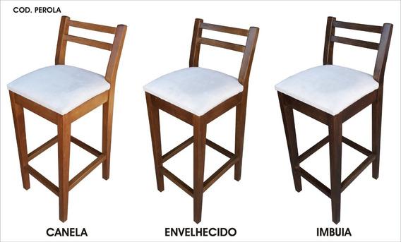 Banqueta Em Madeira Cadeira Alta Banco Perola Hedcasa Moveis