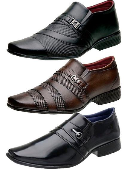 Kit 3 Pares Sapato Social Masculino Confortável Lançamento