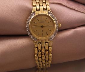Relógio De Pulso Auria Todo Em Ouro Com 16 Diamantes J10827