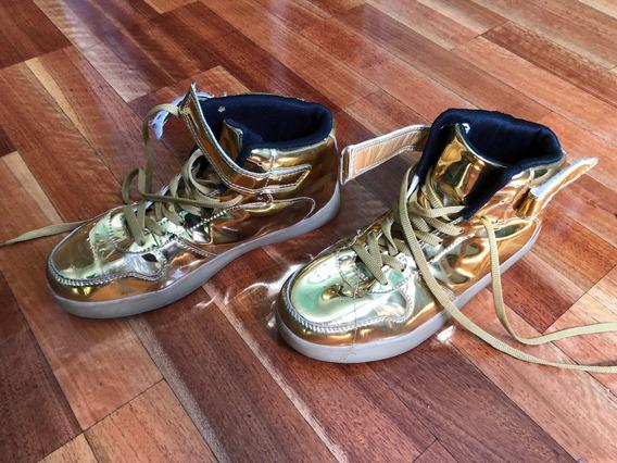 Zapatillas Doradas Botitas Led Importadas Usa Talle 36