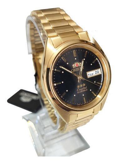 Relógio Orient Masculino Dourado Masculino Mostrador Preto