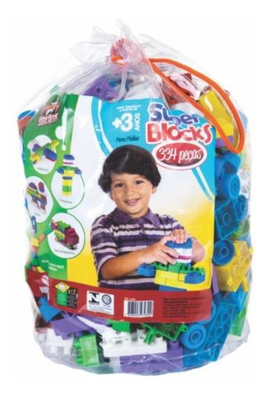 Brinquedos Educativo Bolsa C. 334 Pçs. Blocos De Montar