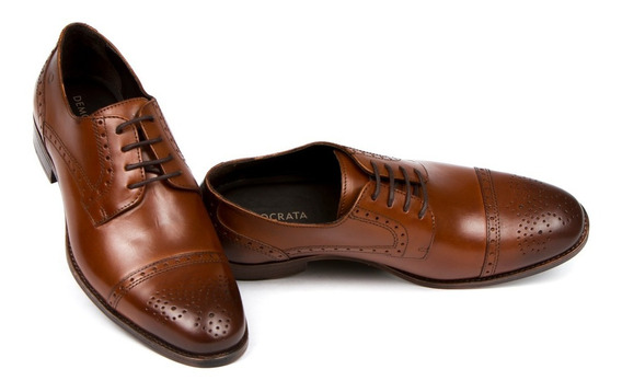 Sapato Brogue Democrata Metropolitan Apolo Tan 230101+brinde