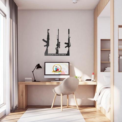 Imagem 1 de 2 de Quadro Decorativo Parede Trio Armas Cs Ak-47 M4a1-s Awp 60cm