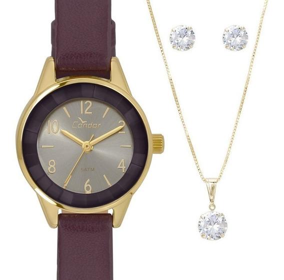 Relógio Feminino Dourado Condor Pulseira Em Couro Roxo Kit Jóias Colar + Brincos Caixinha Para Presente