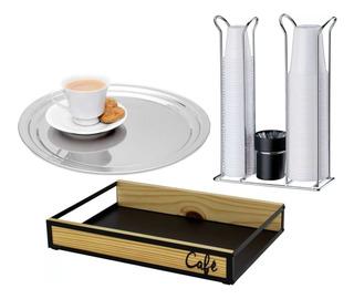 Porta Copos Descartáveis Bandeja Inox Café Da Manhã Cozinha