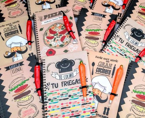 Imagen 1 de 9 de Cuaderno Receta, Recetario, Cuaderno Cocina Con Lapicera !!