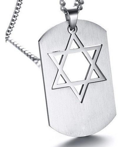 Cordão Colar Masculino Placa Tag Estrela De Davi Em Aço Inox