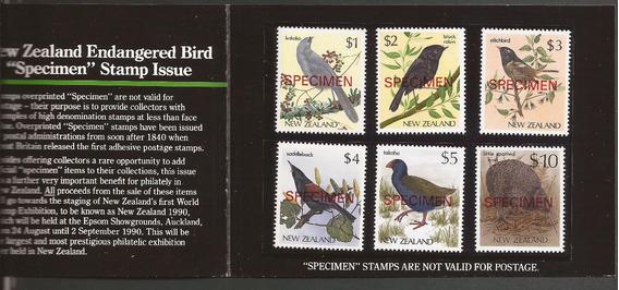 New Zealand 1982 Carnet 6 Sellos Specimen Aves Nativas - 111