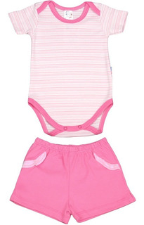 Roupa De Bebê Conjunto Body E Shorts Suedine Listrado Menina