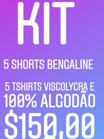 Kit 5 Shorts Bengaline E 5 Tshirts