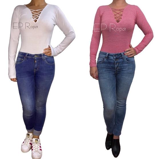 Blusa Body Cordon Escotado Licrado Bodysuit Moda Mujer